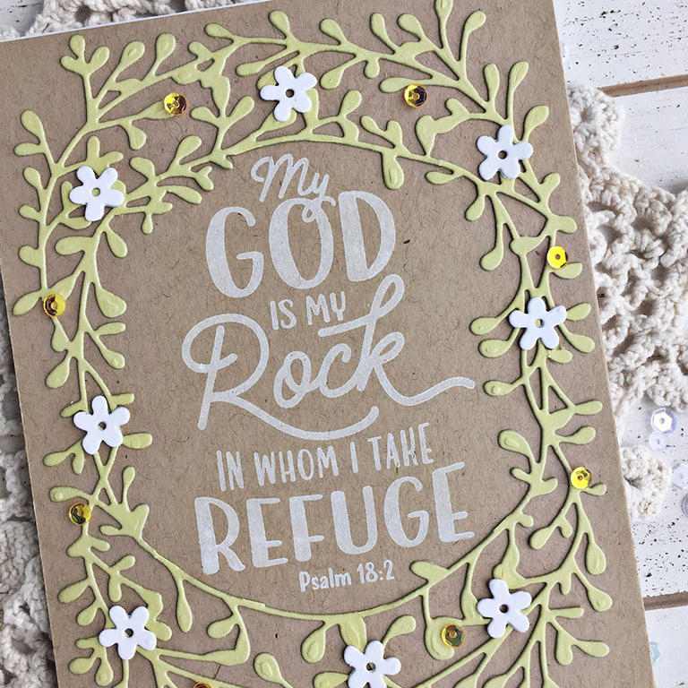 God is my Rock Card - detail