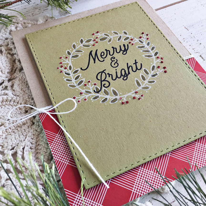 Merry & Bright card - detail